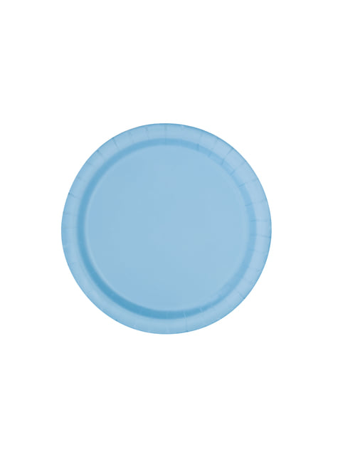 16 assiettes bleues ciel - Gamme couleur unie