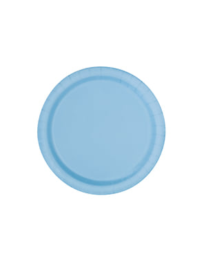 16 hemelsblauwe borde (23 cm) - Basis Kleuren Lijn