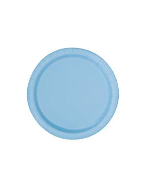 Zestaw 16 błękitnych talerzy - Linia kolorów podstawowych