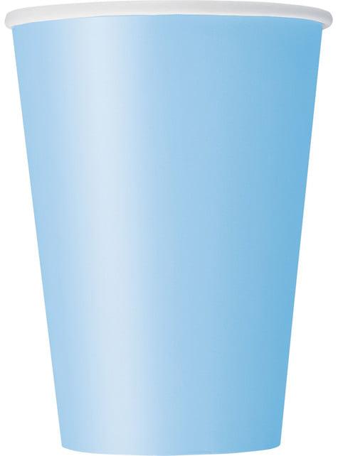 Sæt af 10 himmel blå kopper - Basale farver linje