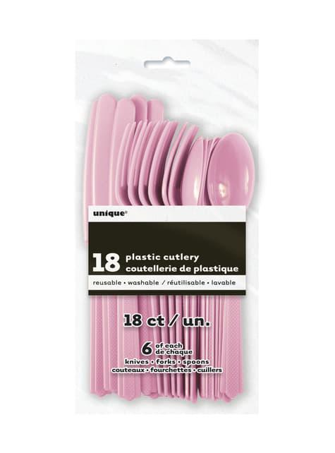 Set de cubiertos de plástico color rosa claro - Línea Colores Básicos - para tus fiestas