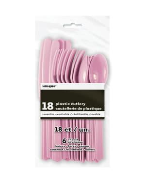 Set di posate di plastica color rosa chiaro-Linea Colori Basic