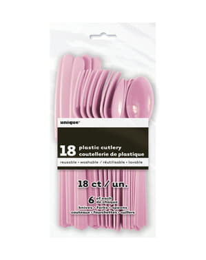 Светло розов пластмасов комплект за прибори за хранене - Основна линия за цветове