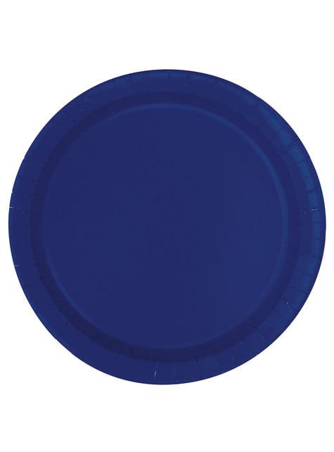 20 assiettes à dessert bleu marine - Gamme couleur unie