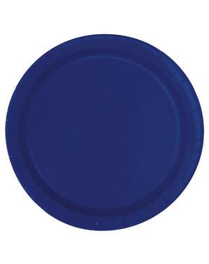 Set od 20 mornarsko-plavih desertnih tanjura - Basic Line Colors
