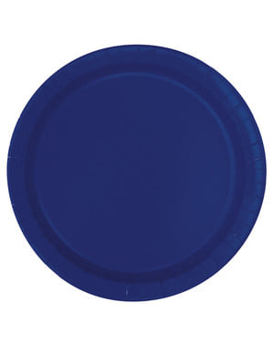 20 navy blauwe dessertborde (18 cm) - Basis Kleuren Lijn