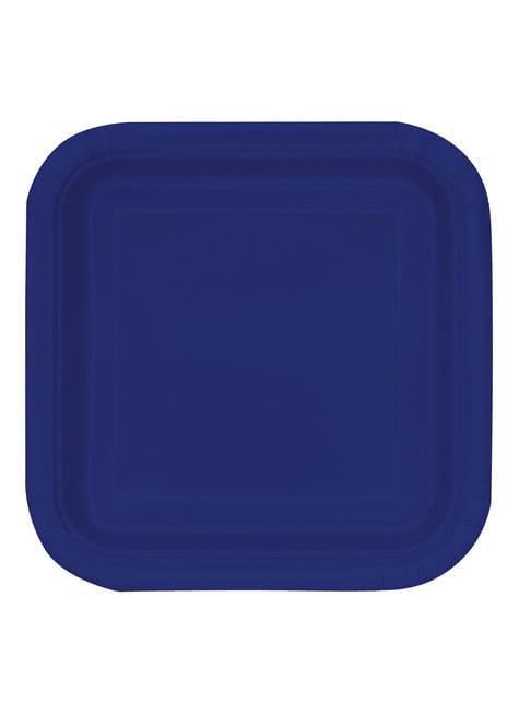16 assiettes carrées à dessert bleu marine - Gamme couleur unie