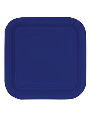 16 niebieskie kwadratowe talerze deserowe - Linia kolorów podstawowych