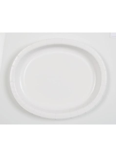 8 bandejas ovaladas blancas - Línea Colores Básicos