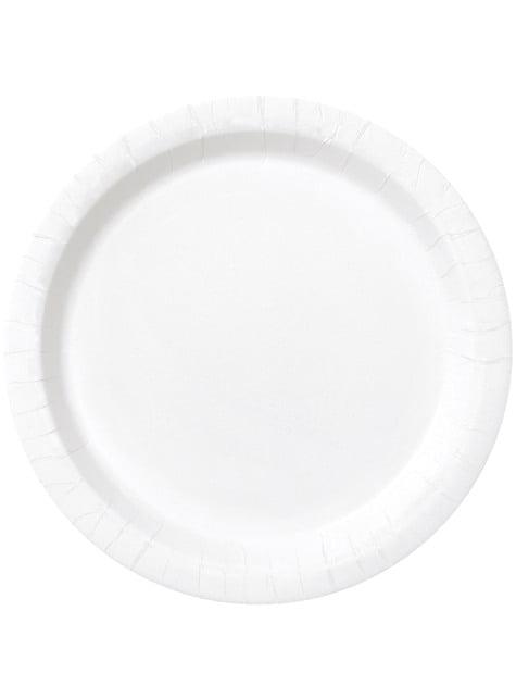 20 assiettes à dessert blanches - Gamme couleur unie
