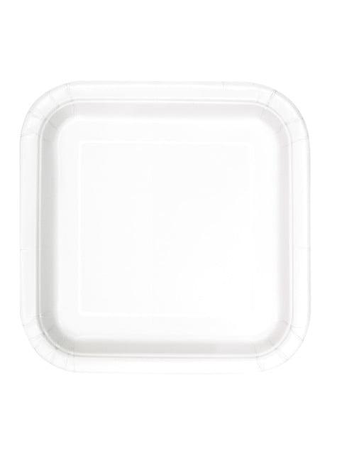 14 assiettes carrées blancs - Gamme couleur unie