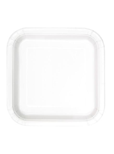 16 assiettes carrées à dessert blanches - Gamme couleur unie