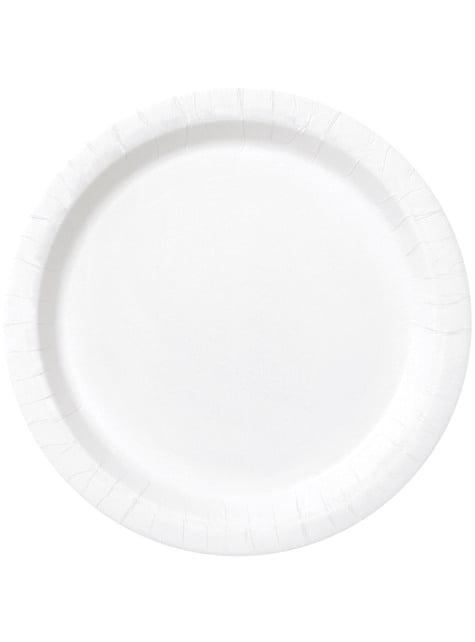 16 platos blancos (23 cm) - Línea Colores Básicos