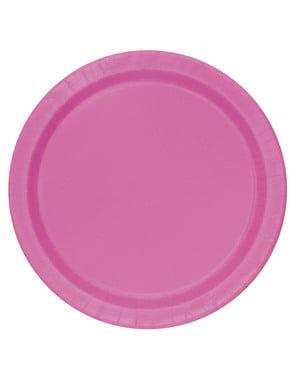 Zestaw 16 różowych talerzy - Linia kolorów podstawowych