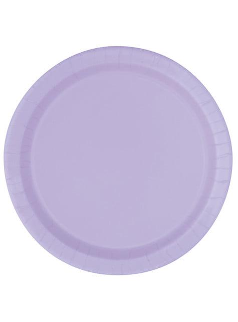 16 assiettes lilas - Gamme couleur unie