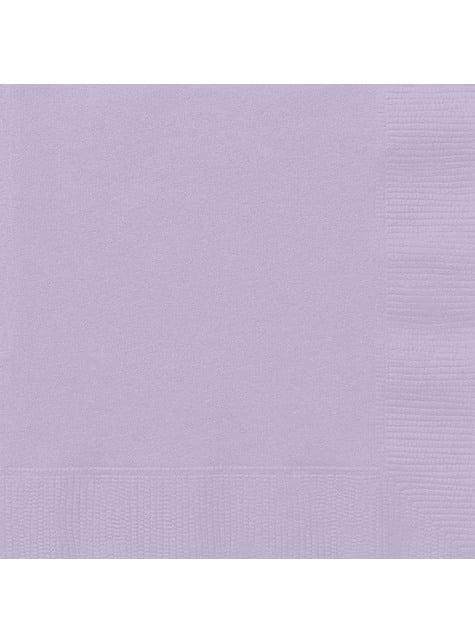 20 grandes serviettes lilas - Gamme couleur unie