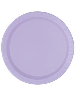 8 pratos de sobremesa lilá (18 cm) - Linha Cores Básicas