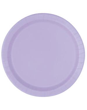 Zestaw 8 jasnofioletowych talerzy - Linia kolorów podstawowych