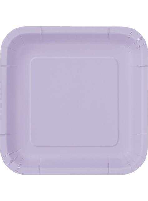 16 assiettes carrées à dessert lilas - Gamme couleur unie