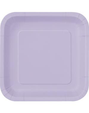 16 liliowe kwadratowe talerze deserowe - Linia kolorów podstawowych