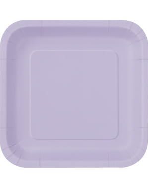 16 pratos quadrados de sobremesa lilá (18 cm) - Linha Cores Básicas