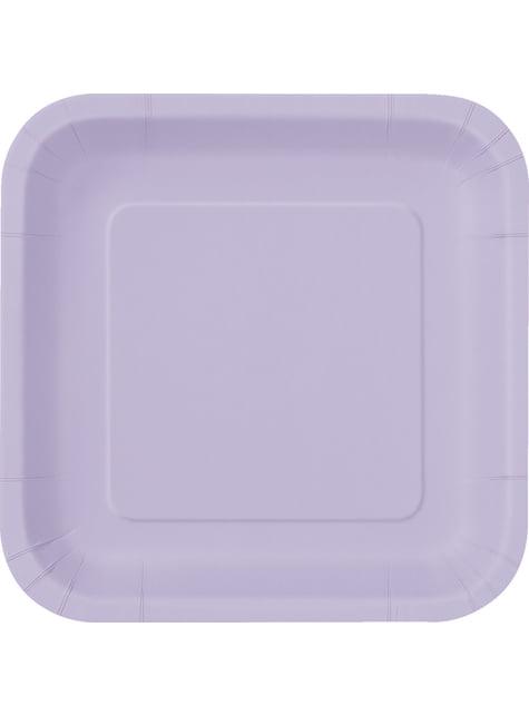 14 assiettes carrées lilas - Gamme couleur unie