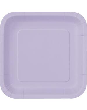 Zestaw 14 jasnofioletowych kwadratowych talerzy - Linia kolorów podstawowych