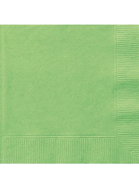 20 grandes serviettes vertes- Gamme couleur unie