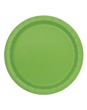 8 limoengroene dessert borde (18 cm) - Basis Kleuren Lijn