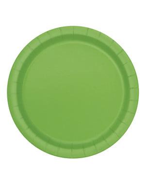 Zestaw 8 limonkowych talerzy - Linia kolorów podstawowych