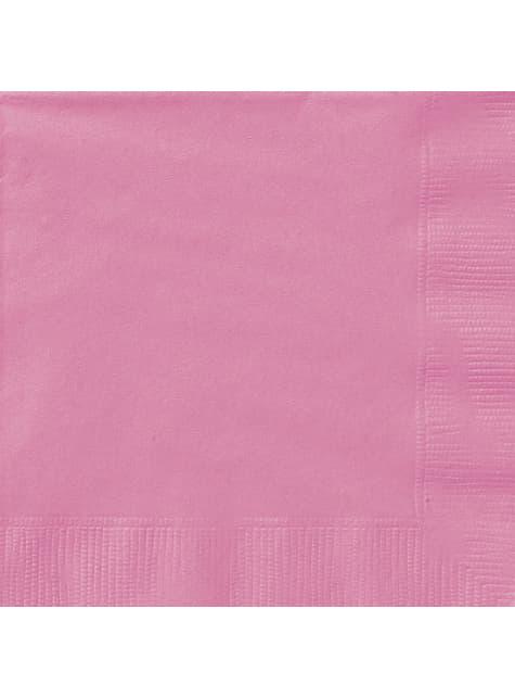 20 grandes serviettes roses - Gamme couleur unie