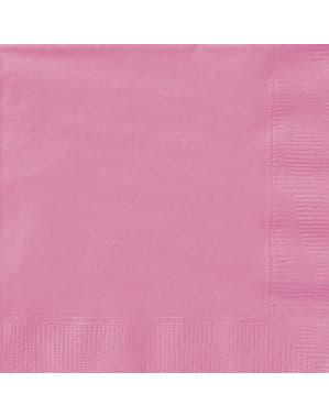 Sæt af 20 store pink servietter - Basale farver linje