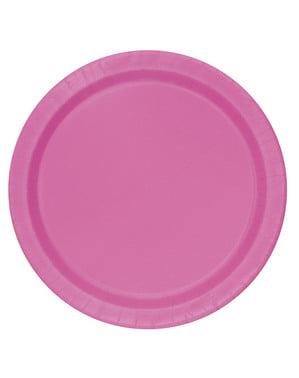 8 assiettes à dessert roses - Gamme couleur unie