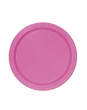 Zestaw 8 różowych talerzy - Linia kolorów podstawowych