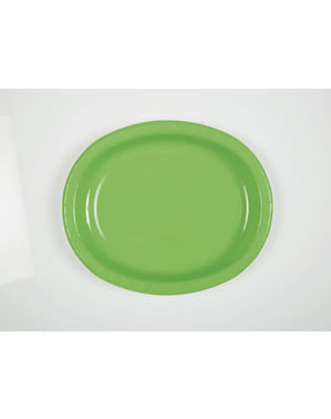8 lime green oval trays - Basic Colours Line