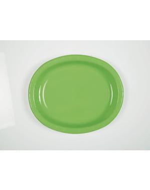 8 limoengroene ovale dienbladen - Basis Kleuren Lijn