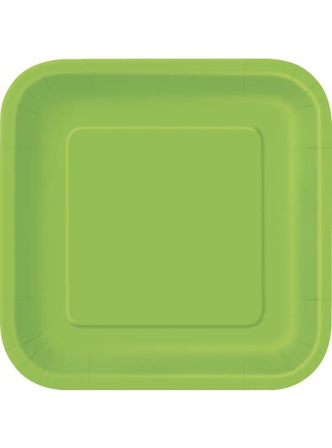 16 assiettes carrées à dessert vert citron - Gamme couleur unie