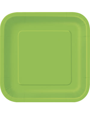 16 square lime green dessert plate (18 cm) - Basic Line Colours