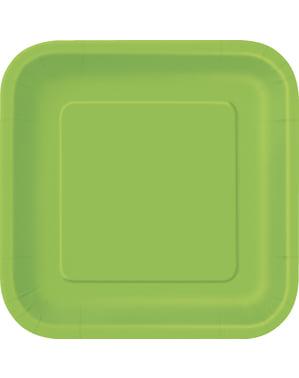 16 vierkante limoen groene dessertborde (18 cm) - Basis Kleuren Lijn