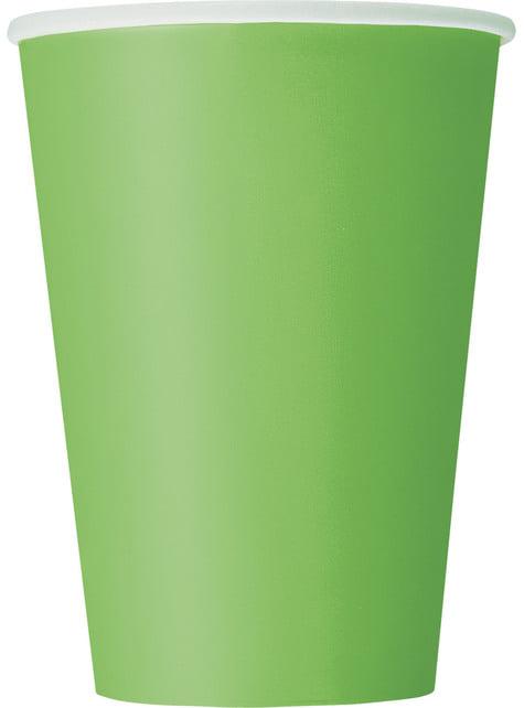 10 kpl isoa limenvihreää kuppia - Perusvärilinja