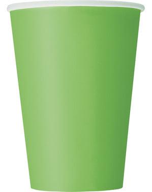 Zestaw 10 dużych limonkowych kubków - Linia kolorów podstawowych