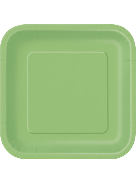 14 platos cuadrados verde lima (23 cm) - Línea Colores Básicos