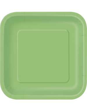 14 lime green square plate (23 cm) - Basic Colours Line