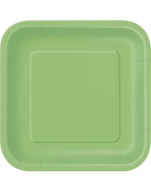 Zestaw 14 limonkowych kwadratowych talerzy - Linia kolorów podstawowych