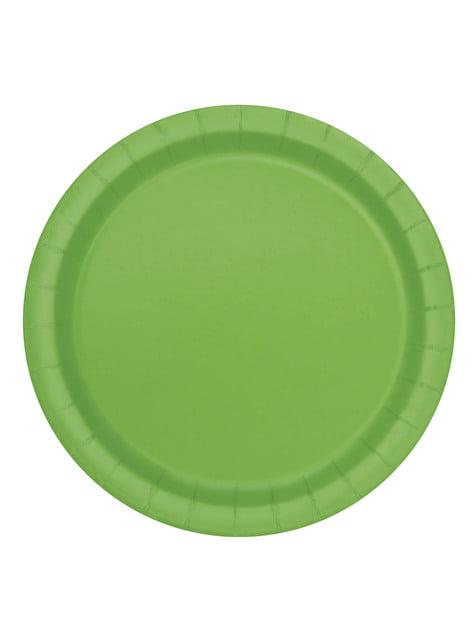 16 platos verde lima (23 cm) - Línea Colores Básicos