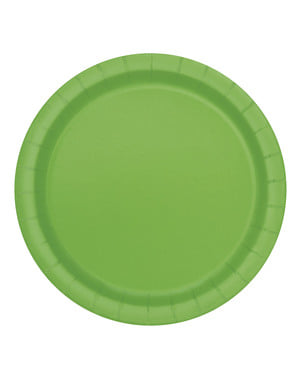 Zestaw 16 limonkowych talerzy - Linia kolorów podstawowych