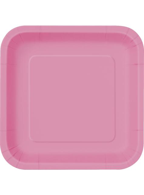 14 platos cuadrados rosas (23 cm) - Línea Colores Básicos