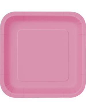 Sett med 14 rosa firkantede tallerkener - Grunnleggende Farger Kolleksjon