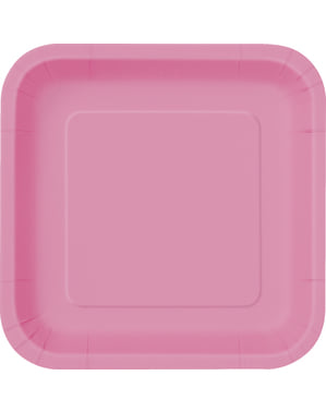 Viereckige Teller Set rosa 14-teilig - Basic-Farben Kollektion