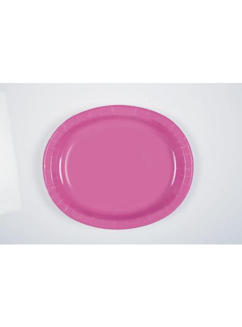8 plateaux ovales roses - Gamme couleur unie
